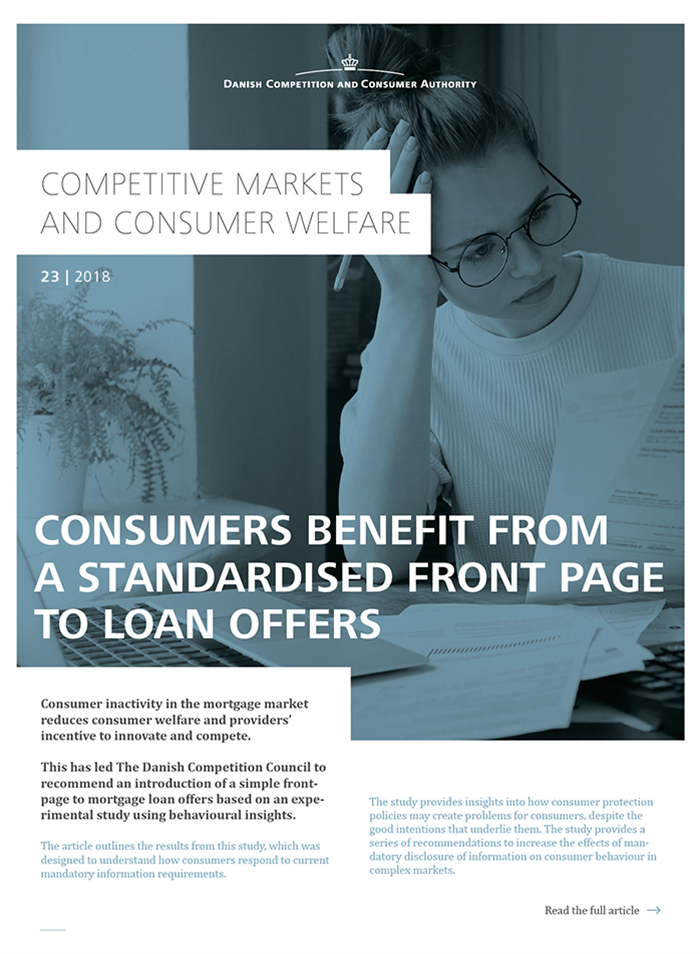 Consumers benefit from a standardised front page to loan offers