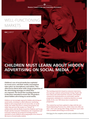 Children must learn about hidden advertising in social media