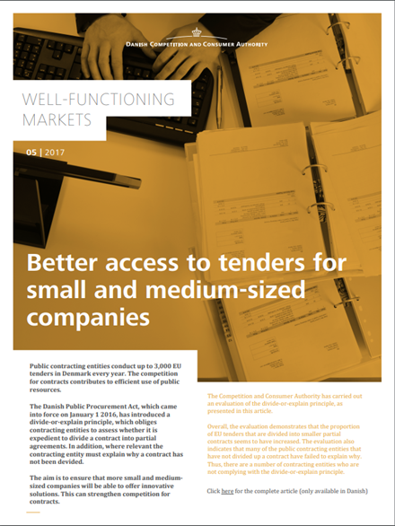 Better access to tenders for small and medium-sized companies