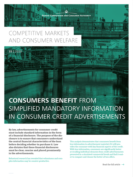 Consumers benefit from simplified information disclosure
